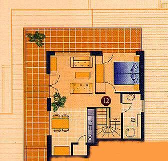 Grundriß 3-Zi-PENTHOUSE-Ferienwohnung SEESTERN-Residenz im Ostseebad Kühlungsborn